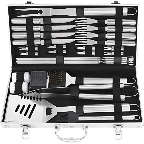 grilljoy 29PCS BBQ Grill Tool Set - Extra Thick Stainless Steel Spatula, Tongs, Steak Knife and Fork - Complete Grilling Accessories in Aluminum Storage Case - Perfect Grill Set Gift (Set Grill Customized)