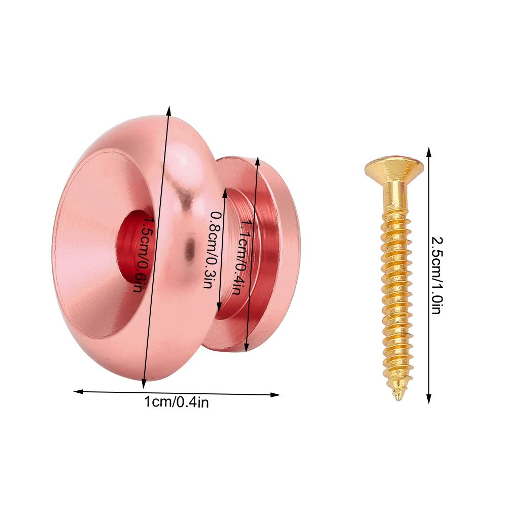 Rose Red Strap Locks 2pcs Strap Buttons For Guitar Bass Strap Retainer Mushrooms Head Quick Release Security Strap locks Guitar Parts Pack of 2