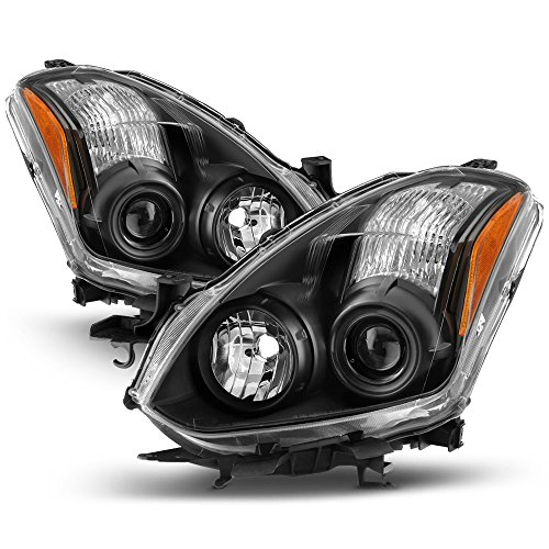 Side Headlight Coupe - VIPMOTOZ For 2010-2013 Nissan Altima Coupe Headlights - Matte Black Housing, Driver and Passenger Side