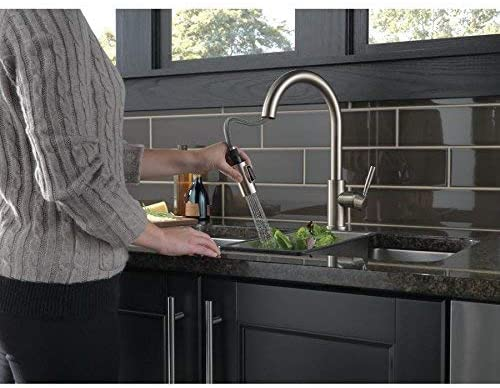 Delta Trask Stainless Single Handle Pull Down Kitchen Faucet With Soap Dispenser Amazon Com