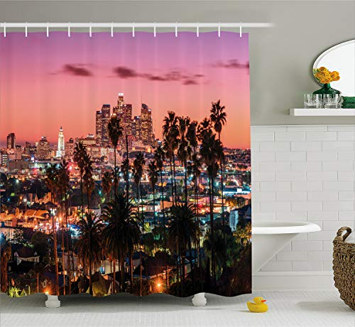 Ambesonne United States Shower Curtain, Vibrant Sunset Twilight Scenery Los Angeles Famous Downtown with Palm Trees, Fabric Bathroom Decor Set with Hooks, 70 Inches, Dried Rose