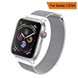 HILIMNY Compatible for Apple Watch Band 38mm 40mm 42mm 44mm, Stainless Steel Mesh Milanese Sport Wristband Loop with Adjustable Magnet Clasp for iWatch Series 1/2/3/4,Silver
