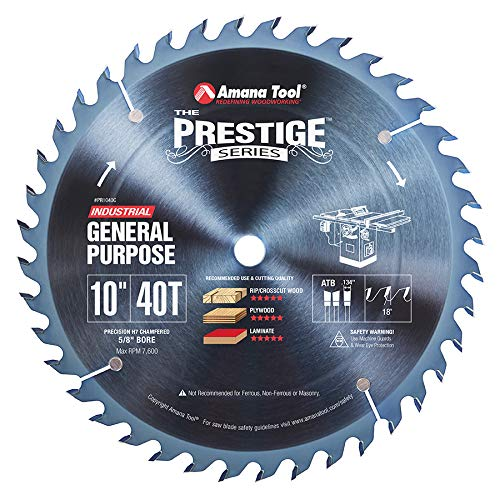 (Amana Tool - PR1040C Electro-Blu Carbide Tipped Prestige General Purpose 10 Inch Dia 40T A)
