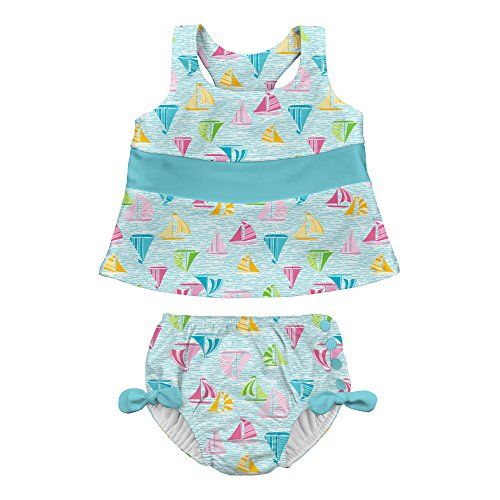 I play. Baby Girls 2pc Bow Tankini Swimsuit Set With Snap Reusable Absorbent Swim Diaper, Light Aqua Sailboat Sea, 12mo
