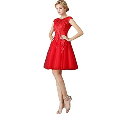 Drasawee Lady Lovely Lace Short Party Cocktail Prom Dress A-Line Lace Up Evening Homecoming
