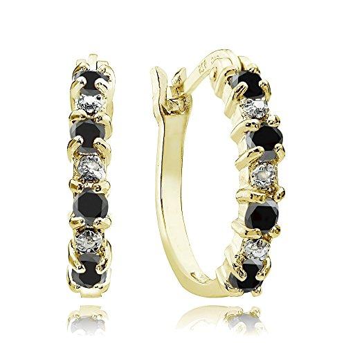 Black Sapphire Earrings - Yellow Gold Flash Sterling Silver Created Black Ebony Sapphire Hoop Earrings