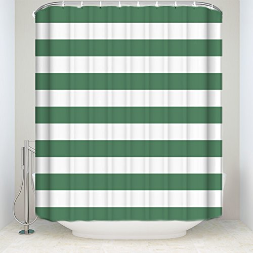 Green Striped Shower Curtain - Prime Leader Striped Shower Curtain, Christmas Style Green and White Stripes Monochrome Tones Digital Printed, Fabric Bathroom Decor with Hooks, 36 x 72 Inches