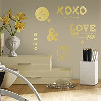 RoomMates RMK2995SCS Gold Love with Hearts and Arrows Peel and Stick Wall Decals & RoomMates RMK2995SCS Gold Love with Hearts and Arrows Peel and Stick ...