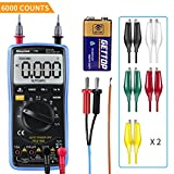 Digital Multimeter, Morpilot Auto-Ranging 6000 Counts DC/AC Voltage & Current, Resistance, Frequency, Continuity, Capacitance, Diode, Temperature, 3.0 Inch Backlight Large LCD Display
