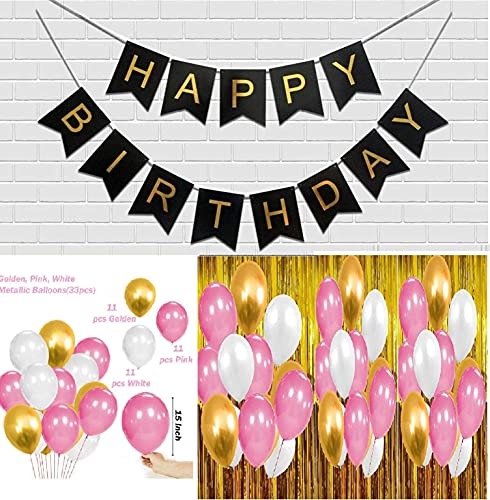WEBBLE Happy Birthday Banner Black Letters and Metallic Latex Balloons | Combo Set of 46 Decoration Items for Birthday Party at Home, Hall, Office, College