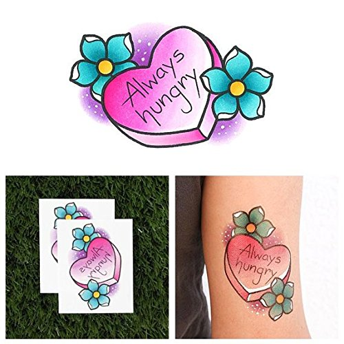 Tattify Candy Heart Temporary Tattoo - Big Appetite (Set of 2) - Other Styles Available - Fashionable Temporary Tattoos - Long Lasting and -