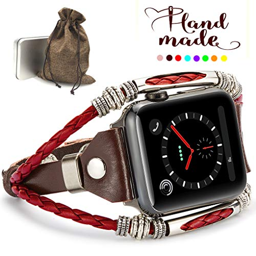 Marval.P Compatiable for Apple Watch 4 Bands(40mm&44mm), Handmade Leather DIY Band for Series 123 38mm/42mm, Replacement Bracelet Strap, Wristbands with Adjustable Size, Fashion Wrist Band Straps]()