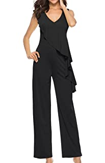 SportsX Women Simple Sleeveless Straight V-Neck Pure Color Jumpsuits Pants