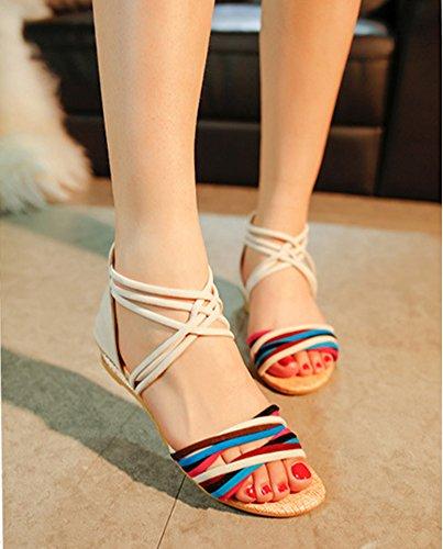 De Minetom Planos Zapatillas Zapatos Mujeres T Blanco Sandalias Correa Trenzado Romana Correa Toe Del Peep Playa Tobillo 01 Gladiador ZxqrZgpw