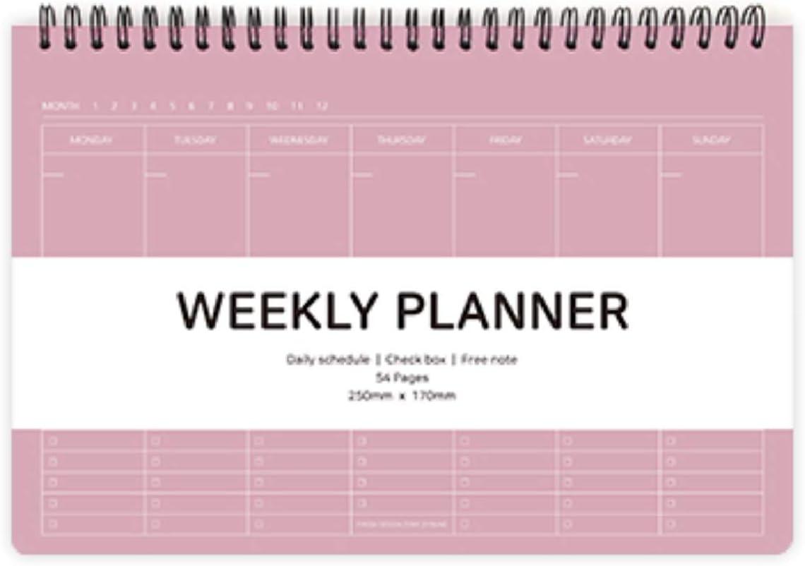 Elite Check Weekly Planner - Wirebound Undated Weekly & Daily Scheduler, Check Box, Free Note / 9.84 x 6.69 inches (Mocha Pink)