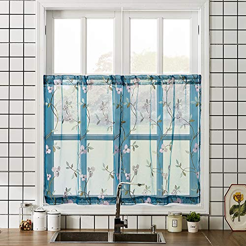 MRTREES Blue Sheer Tier Curtains Floral Embroidered 36 inches Long Cafe Curtains Voile Flower Embroidery Kitchen Tiers Rod Pocket Small Half Window Curtains 2 Panels ()