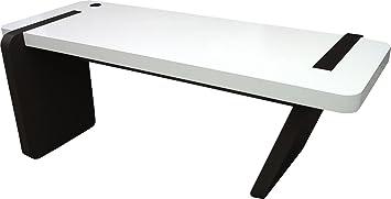 Bureau design laqué blanc noir pied oblique amazon cuisine