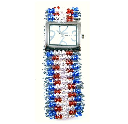 PlanetZia Patriotic Stretch Safety Pin Watch Bracelet with Crystal Faceted Beads (Safety Pin Flag)