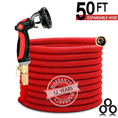 Homes Garden Expandable Garden Hose Red – 25/50/75/100 Feet Free Spray Nozzle 3/4 Solid Brass Fittings (50 Feet with Spray Nozzle)
