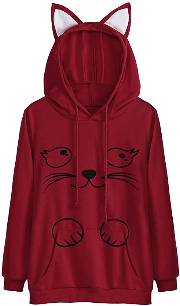 XXL,Red Blouses for Women,Long Sleeve Cat Printed Hoodie Sweatshirt Hooded Tops Blouse