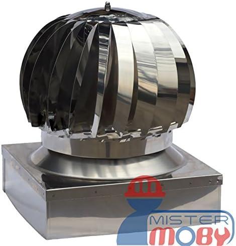 Mistermoby Accesorios de Succión de Acero Inoxidable, Giratorio, Eólico Aspira Incendios y Humos Comignolo 27 X 27 cm