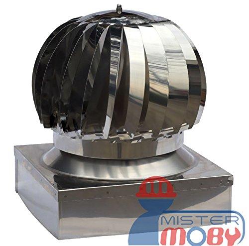 Mistermoby Aspiratore Aspiratore Girevole Eolico in Acciaio Zincato Aspira Fumo e Fumi Comignolo Dimensioni 32X22 Centimetri