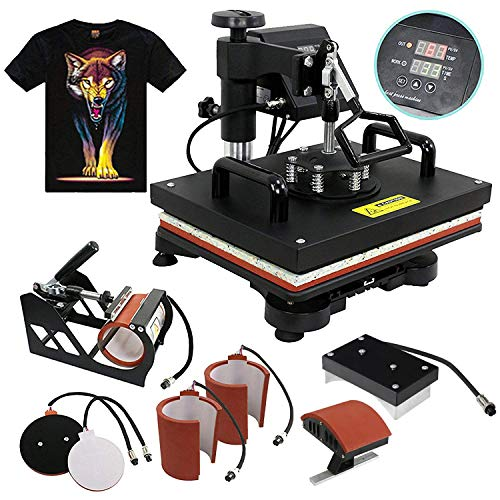 F2C Professional Multifunction Digital Transfer Sublimation Swing-Away 360-degree Rotation Heat Press Machine Hat/Mug/Plate/Cap/T-Shirt Black (6 in 1 Multi-Function Heat Press) (Best Custom Shirt Maker)