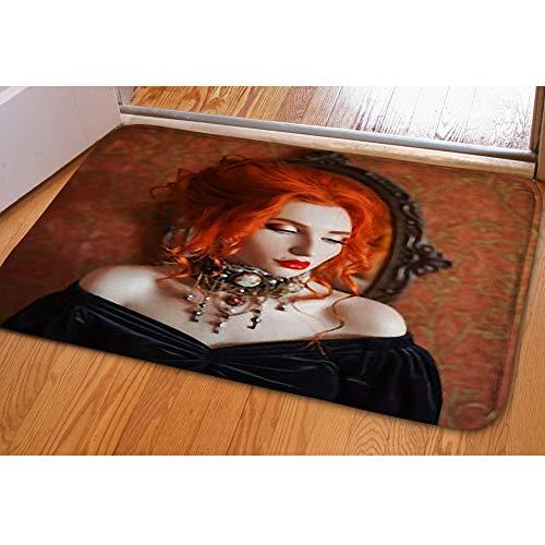 iBathRugs Door Mat Indoor Area Rugs Living Room Carpets Home Decor Rug Bedroom Floor Mats,Dark Halloween Attire Redhead Gothic ()