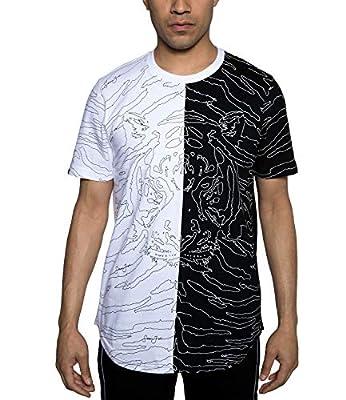 Sean John Mens Floating Tiger Split Graphic T-Shirt. Floating