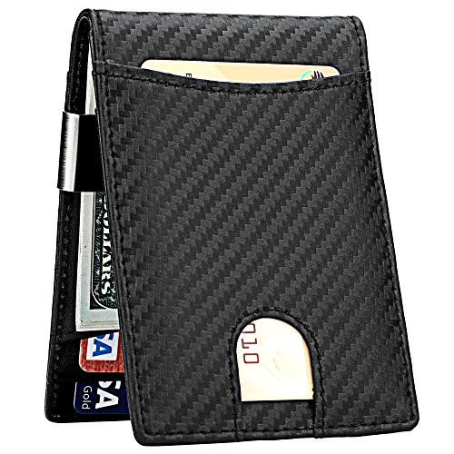 Money Clip Wallet for Men Slim Front Pocket RFID Blocking Card Holder Minimalist Bifold Wallet(Carbon)