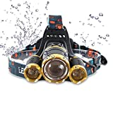 Brightest LED Headlamp 6000 Lumen flashlight 2x 5000 mAh Rechargeable 18650 headlight flashlights, Waterproof Hard Hat Light, Lumen Bright Head Lights, Running or Camping headlamps