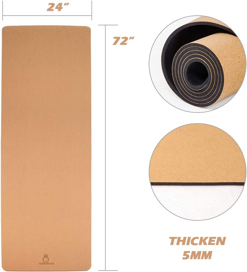 GOGODUCKS Eco-Friendly Yoga mat Made of Organic Cork Natural Rubber 72 Long 24 Wide 5mm Thick Non-Toxic for Hot Yoga Exercise Yoga mat Strap Included
