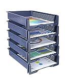 5 Tier - Plastic Desk Letter Organizer Tray, Stackable Office Desktop Document Paper Storage, Front Load File Holder, Portrait