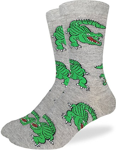 Alligator Shoes Adult (Good Luck Sock Men's Alligator Crew Socks - Grey, Adult Shoe Size 7-12)