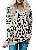 Karlywindow Womens Leopard Print Sweaters Long Sleeve V Neck Knitted Stylish Pullover Khaki