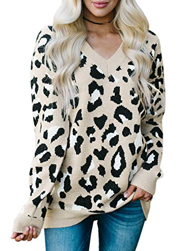 (Karlywindow Womens Leopard Print Sweaters Long Sleeve V Neck Knitted Stylish Pullover Khaki)
