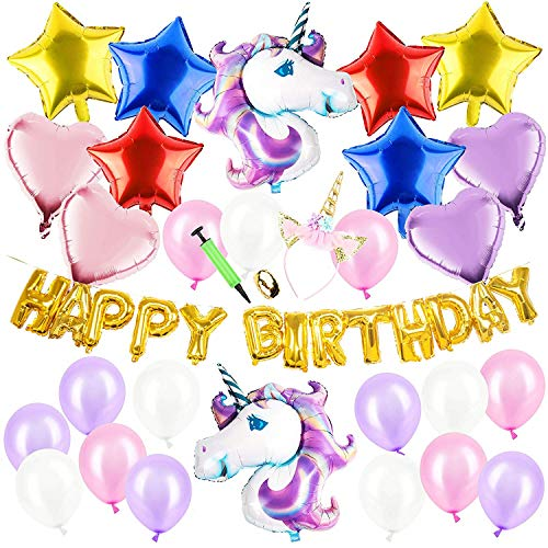 Unicorn Balloons Birthday Party Decorations - Unicorn Birthday Party Supplies Kit, Set of 46 pcs Includes Heart, Star Balloons, Headband, Gold Happy Birthday Banner – Party Décor BONUS Air Pump &