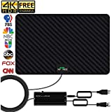HDTV Antenna, 2020 Newest Indoor Digital TV Antenna 130+ Miles Range with Amplifier Signal Booster 4K Free Local Channels Support All Television -16.5ft Coax Cable