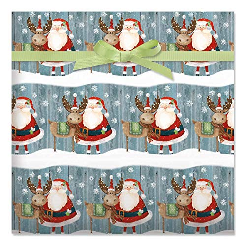 Christmas Chums Jumbo Rolled Gift Wrap - 1 Giant Roll, 23 Inches Wide by 35 feet Long, Heavyweight, Tear-Resistant, Holiday Wrapping Paper
