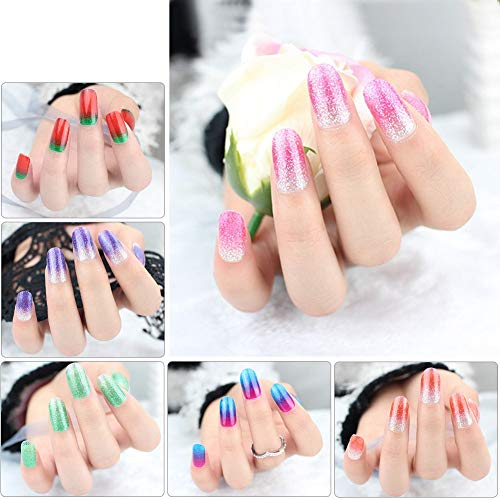arkly Full Nail Art Stickers Adhesive 6 sheets for Women Girls Kids, VIWIEU Gradient Glitter Gel Nail Polish Strips Fake Nail Tips, Gift for Thanksgiving Christmas New Year ()