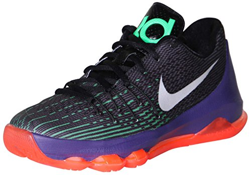 Nike Youth KD 8 Fashion Sneakers Black/White-Green Shock-Hyper Orange