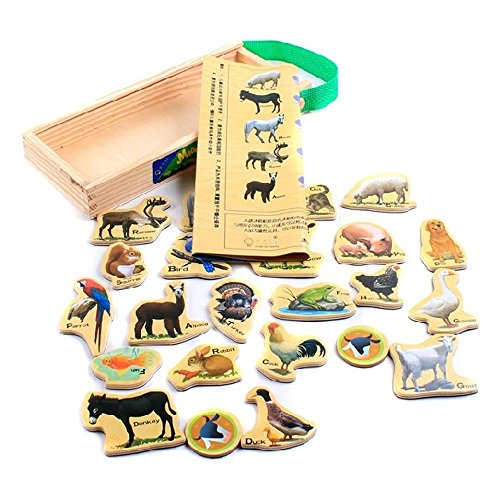 23pcs Woooden Animals Magnets in a Box, Wood Farm Animal and Scene Graph Magnet Set in a Storage Case, Colorful Cartoon Cool Design Magnets for Refrigerator Door Cabinet, Great Kid Educational Toy