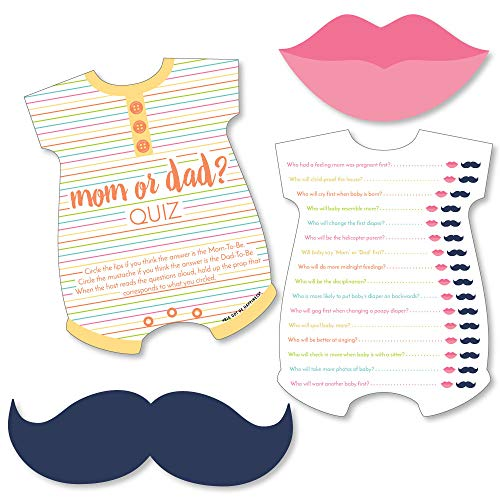 Big Dot of Happiness Baby Neutral - Mom or Dad Quiz Cards with Mustache and Lip Cutouts - Baby Shower Game - Set of 20]()