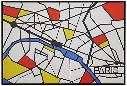 Wall Maps Cosmopolitan (Pop Art Print of Paris Map in Primary Colors, 26