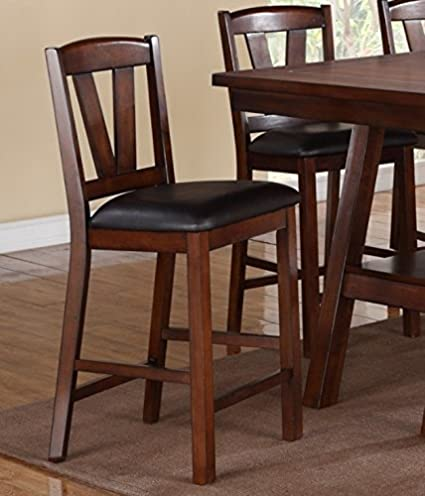 Set Of 4 Dark Brown Faux Leather Seat Solid Wood High Chair Counter Height  Chair