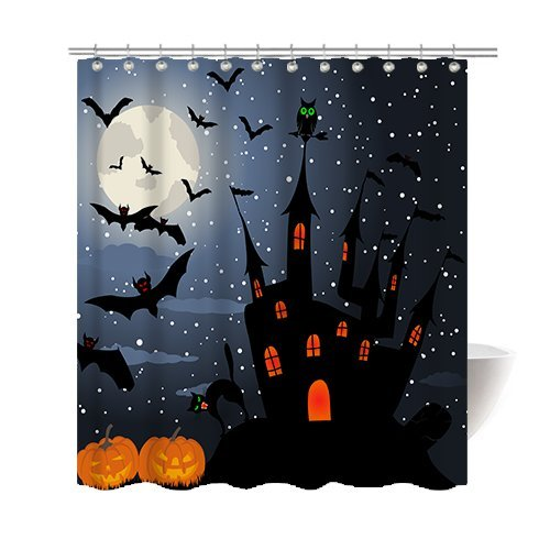 Gwein Halloween Night Theme Happy halloween Pumpkins Black Cat Castle Decorative Bathroom Mildew Resistant Fabric Shower Curtain Waterproof Antibacterial Shower Room Decor Shower Curtains 66 x 72 - Stall Holder Costume