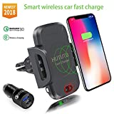 HUTUTU Wireless Car Fast Charger Infrared Induction for Iphone 7.5W Wireless Quick Charging and all 10W QI Device Iphone x 8 plus LG HTC Samsung Galaxy S8 S7 Edge S6 Plus Note 5 8(Color black)
