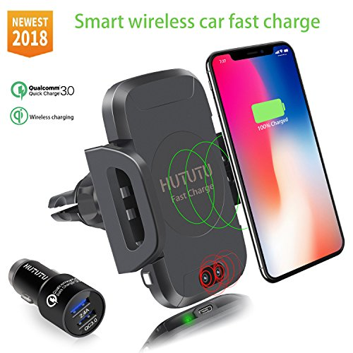 HUTUTU Wireless Car Fast Charger Infrared Induction for Iphone 7.5W Wireless Quick Charging and all 10W QI Device Iphone x 8 plus LG HTC Samsung Galaxy S8 S7 Edge S6 Plus Note 5 8(Color black) by HUTUTU