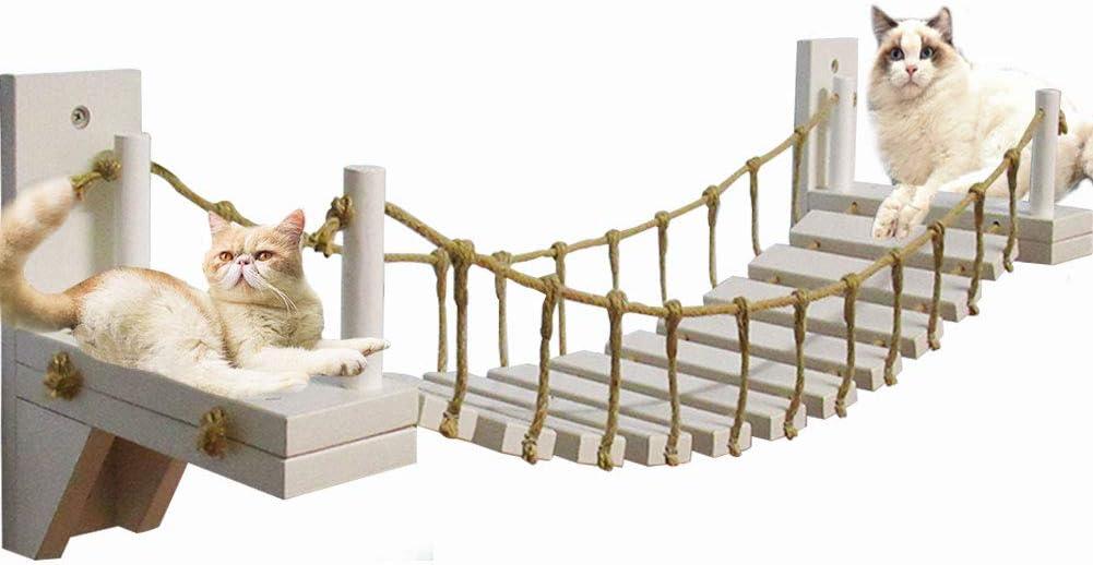 MOCOHANA Wooden Wall-Mounted Cat Bridge with 2 Fixed Brackets Cat Perch Mod Cat Lounge Hammock Cat Condo Kitty Activity Furniture Cat Climber Tree Tower Cat Cloud Shelf Board