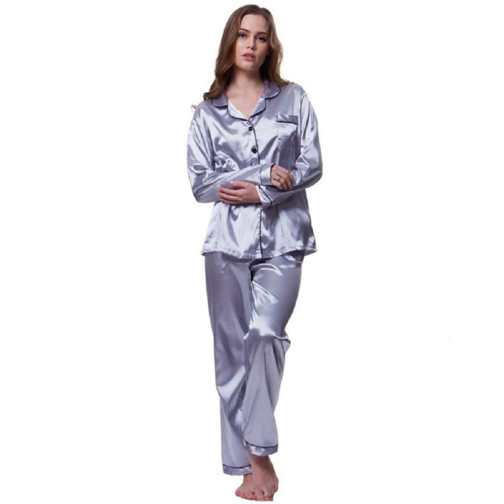 FidgetGear Women's Silk Satin Long Sleeve Button-Down Sleepwear Loungewear